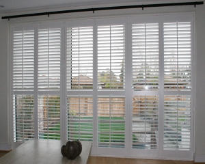 Contemporary 63mm louvre shutter brighten the room giving privacy and shading.